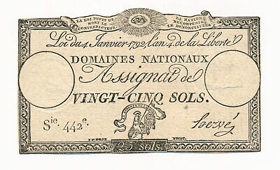 1792 France Assignat 25 Sols Note With Watermark Crisp aEF Scarce