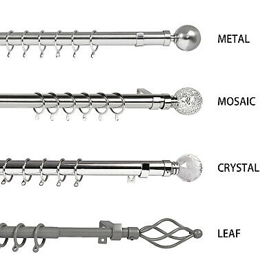Extendable Metal Curtain Pole Chrome 19mm & 28mm Includes Finals Rings Fittings