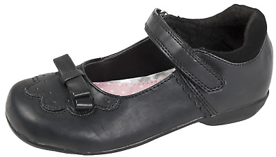 Girls Childrens Black School Shoes 3d Bow Mary Jane Flat Faux Leather Kids Size