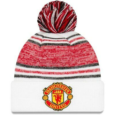 New Era Manchester United Youth White Bobble Logo Cuffed Knit Hat with Pom