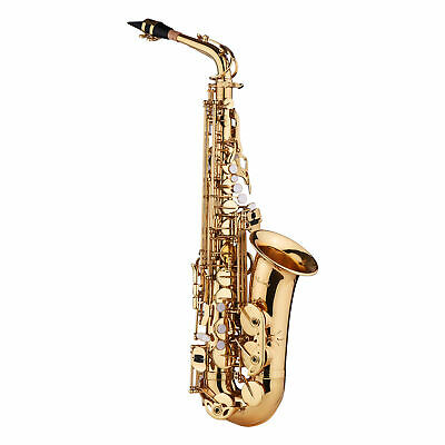 LADE Saxophone Sax Eb Be Alto E Flat Brass Carved Pattern on Surface Golden D5X6