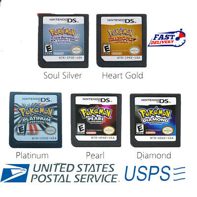 5 Pcs Heart Gold / Soul Silver Game Card Fits 3DS NDSI NDSLL NDXL NDS Lite