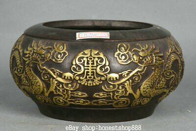 """6"""" Xuande Marked Old Chinese Red Copper Gold 2 Dragon Incense Burner Censer"""
