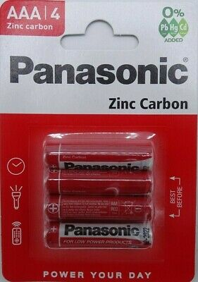 4 AAA Genuine PANASONIC Zinc Carbon Batteries - New LR03 1.5V MN2400 2022 UK