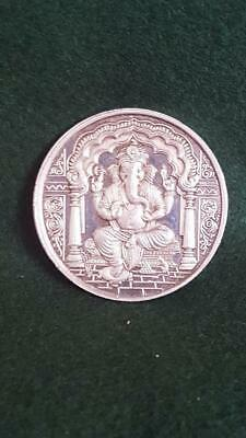 Most Unusual Indian Solid 925 Sterling Silver Medallion Tribute to Ganesha