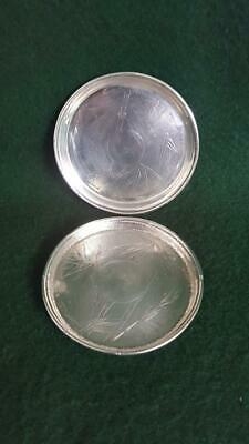 Lovely Pair Late 19th Cent Chinese Export Sterling Silver Drinks Coasters