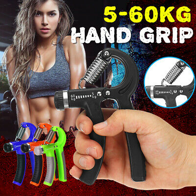 1x 5- 60KG Adjustable Hand Grip Exerciser Strength Wrist Forearm Muscle Training