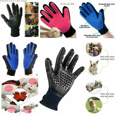 Pet Dog Cat Grooming Glove Gentle Deshedding Brush Massage Hair Fur Removal Tool
