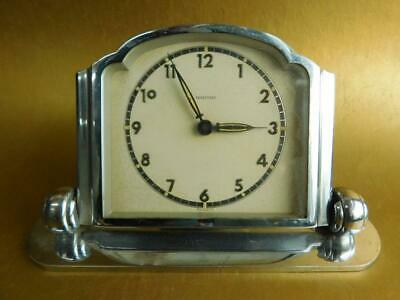 Art Deco Chrome Plated MAUTHE German Mantle Clock 1930s