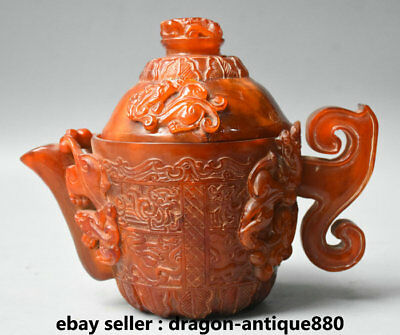 """7.2"""" Qianlong Marked Old Chinese Dynasty Ox Horn Beast Handle Teapot Teakettle"""