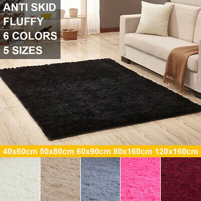 Soft Fluffy Area Rugs Anti-Skid Shaggy Carpet Dining Room Bedroom Floor Mat UK