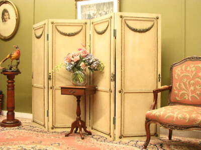 Decorative French 4 Panel Screen / Room Divider ~ Aged Finish, Beautiful Detail.