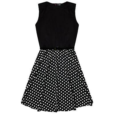 Kids Girls Skater Dress Spotty Contrast Panel Summer Party Dance Dresses 7-13 Yr