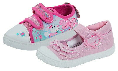 Kids Peppa Pig Canvas Pumps Girls Easy Touch Fasten Plimsolls Trainers Shoes