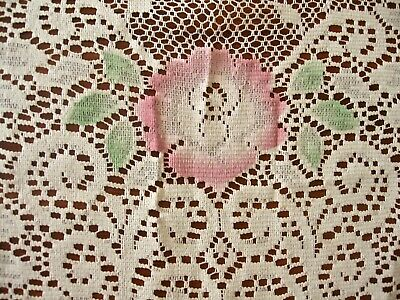 vintage ivory white Quaker Lace tablecloth w pink flowers+green leaves  92x64,
