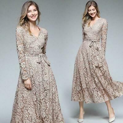 "2019 spring women's fashion temperament ""V""neck lace hollow out High Waist Dress"