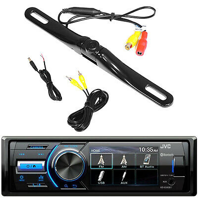 Motorcycle Bluetooth Receiver w/ Rearview Cam Input, License Plate Backup Camera