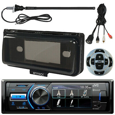 Motorcycle Bluetooth Receiver w/Cover, Wired Remote, Antenna, AUX Interface