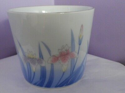 Fabulous Vintage Japanese Porcelain Iris Flowers Design Planter 13 Cms Diameter