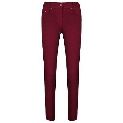 Girls Skinny Jeans Kids Wine Stretchy Denim Jeggings Slim Fit Pants Trouser 5-13