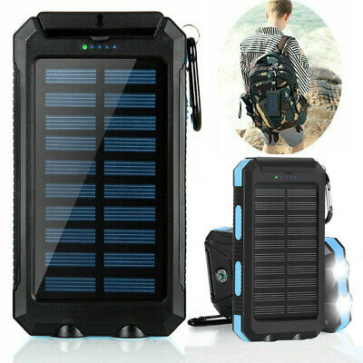 Portable 300000mAh Solar Charger Power Bank USB LED Backup Battery For Phone