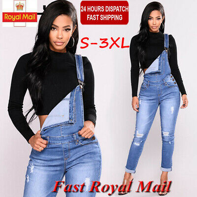 Plus Sz Womens Denim Jeans Jumpsuit Overall Ladies Dungaree Trousers Pants 8-18