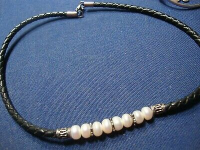 Grandmas Estate Sterling Silver Real Pearls Big Chunky Necklace