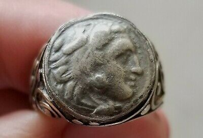 Alexander the Great Authentic Ancient Silver Drachm Coin 925 Solid Silver Ring