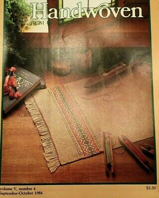 Handwoven magazine sept/oct 1984: ikat skirt/ruana, sheepskate, rug, jacket +