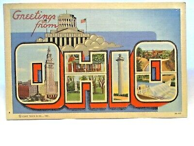 """1943 Large Letter Postcard """" Greetings From Ohio """" W/ Sites Akron Cancel"""