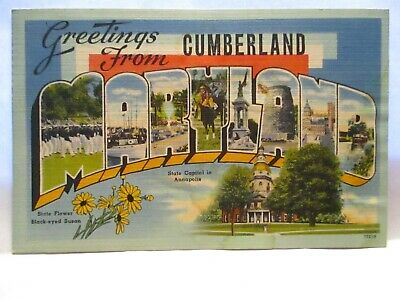1940 Large Letter Postcard Greetings From Cumberland Md Sites, Cumberland Cancel