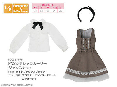 Azone Pureneemo PNS Classic Girly Jumper Skirt Set Light Brown x Black Obitsu