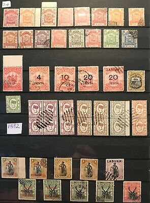North Borneo, Labuan 3 pages of mint and used.