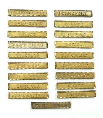US World War 1 WWI Victory Medal, Navy service clasp bar device, complete set/19