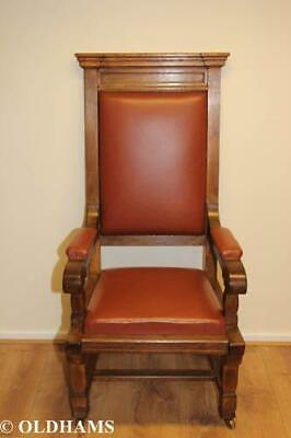 Outstanding Solid Oak Armchair - Wainscot Style - Leather - Brass Castors