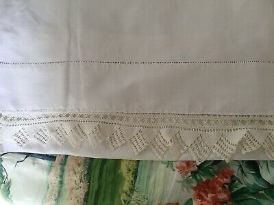 Pair Vintage French White Metis Linen Pillowcases  Crochet  Lace Edging. REDUCED