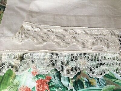 Pair Vintage French Metis Linen Pillowcases with Crochet  Lace Edging. REDUCED