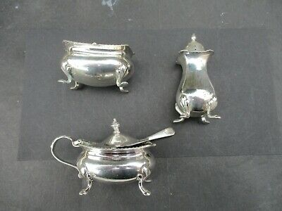 Antique Mappin & Webb Silver Plated Condiment Set On Padded Feet, Poor Condition