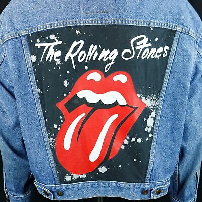 Rolling Stones Levis Denim Jacket Tongue Blue Jean Red Tab Trucker Adult LARGE