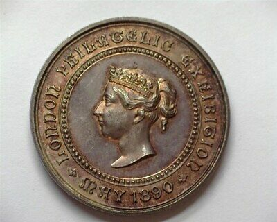 Great Britain 1890 London Philatelc Exhibition Silver Medal Near Gem Unc+