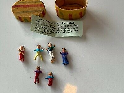 Vintage Guatemalan Worry Dolls And Original Wood Shave Band Box Trouble Lot Of 6