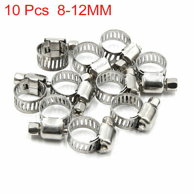 10pcs 8-12MM Stainless Steel Car Vehicle Drive Hose Clamp Fuel Line Worm Clip