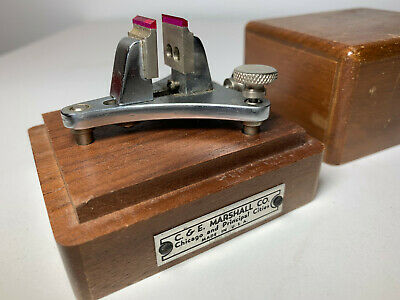 Vtg C & E Marshall Co Poising Tool Vise Set Wood Box Clock Maker Watchmaker