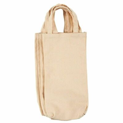 4-Pack Wine Bottle Gift Tote Carrying Bags Cotton Canvas Travel Totes Off-White