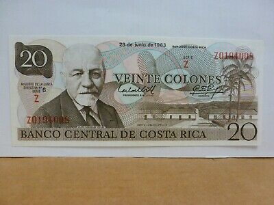 COSTA RICA (P252a) 20 Colones 1983 UNC POLYMER TYVEK--Very Nice Note