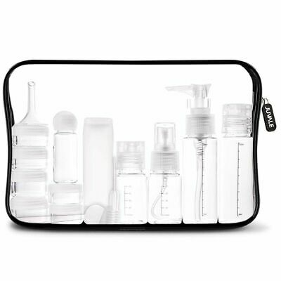 16pcs Makeup Cosmetic Travel Kit Clear Toiletry Bag Organizer Bottles Spray Pump