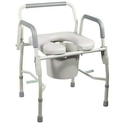 Drive KD Deluxe Steel Drop Arm Commode with Padded Seat 11125PSKD-1 ~ SHIPS FREE