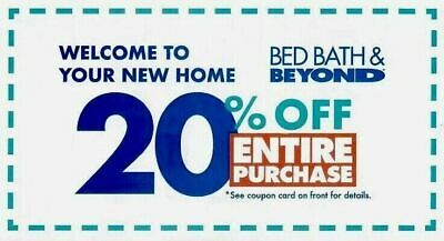 BED BATH & BEYOND 20% Off Entire Purchase Coupon - Expires 10/1/2019 - FAST SEND