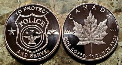 Police - Protect and Serve with Maple Leaf 1oz. Pure Copper Bullion Round!!