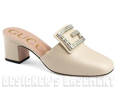 3942432f0 GUCCI ivory 38.5 leather MADELYN Crystal G Mule Mid-Heel shoes NWT Authentc  $890